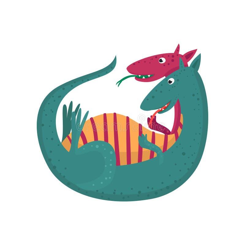 Le double mignon de bande dessinée a dirigé le caractère de dragon, animal mythique, illustration de vecteur de reptile d'imagina illustration libre de droits