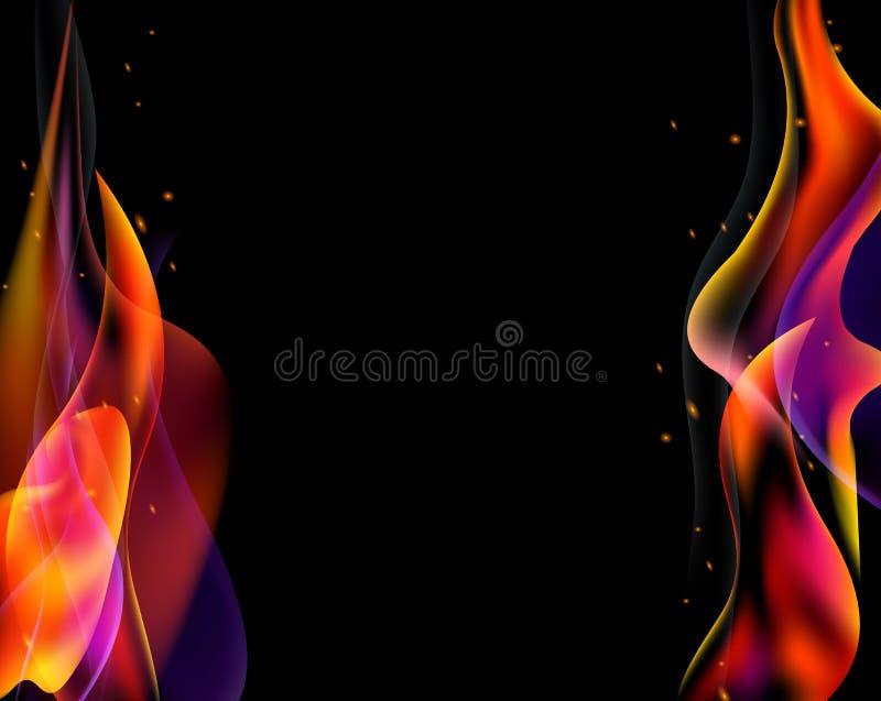 Le double vecteur de torche du feu a coloré la brûlure d'étincelles horizontale sur le noir illustration stock