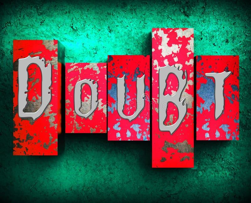 Le doute Word montre l'illustration 3d fataliste mélancolique illustration stock