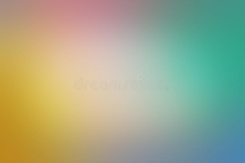 Le doux a brouillé la conception de fond avec le vert bleu et la couleur roses jaunes d'or et lisse la texture trouble illustration de vecteur