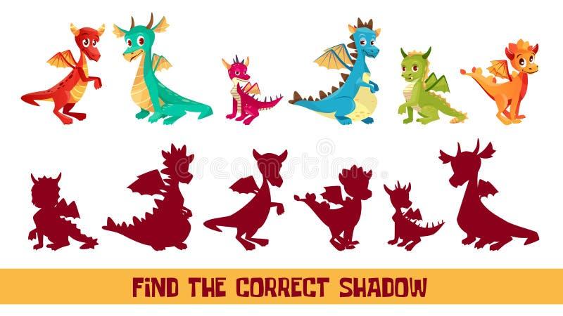 Le dragon d'enfant trouvent l'illustration correcte de bande dessinée de vecteur de jeu d'ombre illustration libre de droits