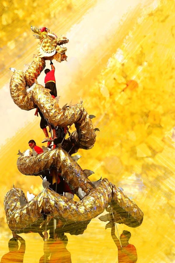 Le dragon d'or est chinois images libres de droits