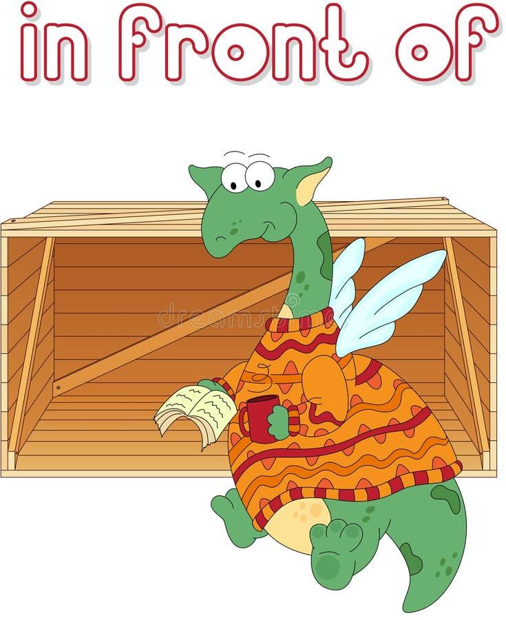 Le dragon de bande dessinée lit un livre devant la boîte Grammaire anglaise illustration libre de droits
