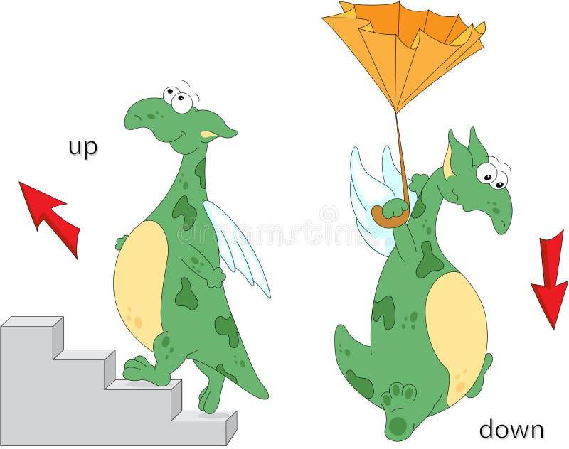 Le dragon de bande dessinée monte les escaliers et vole vers le bas avec un umbrell illustration libre de droits