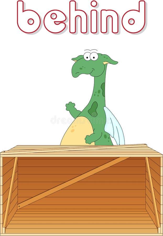Le dragon de bande dessinée se tient derrière la boîte Grammaire anglaise dans la photo illustration libre de droits