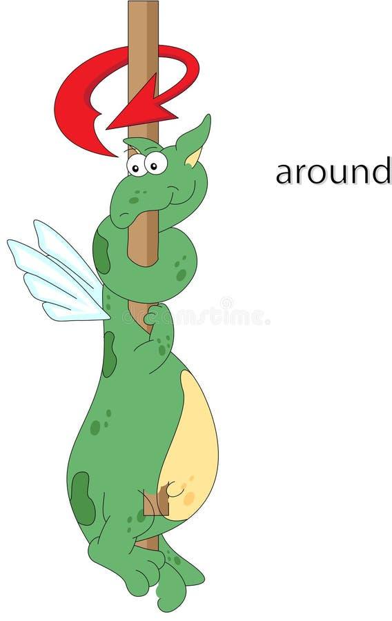 Le dragon de bande dessinée tord autour le poteau Grammaire anglaise dans le pictur illustration de vecteur