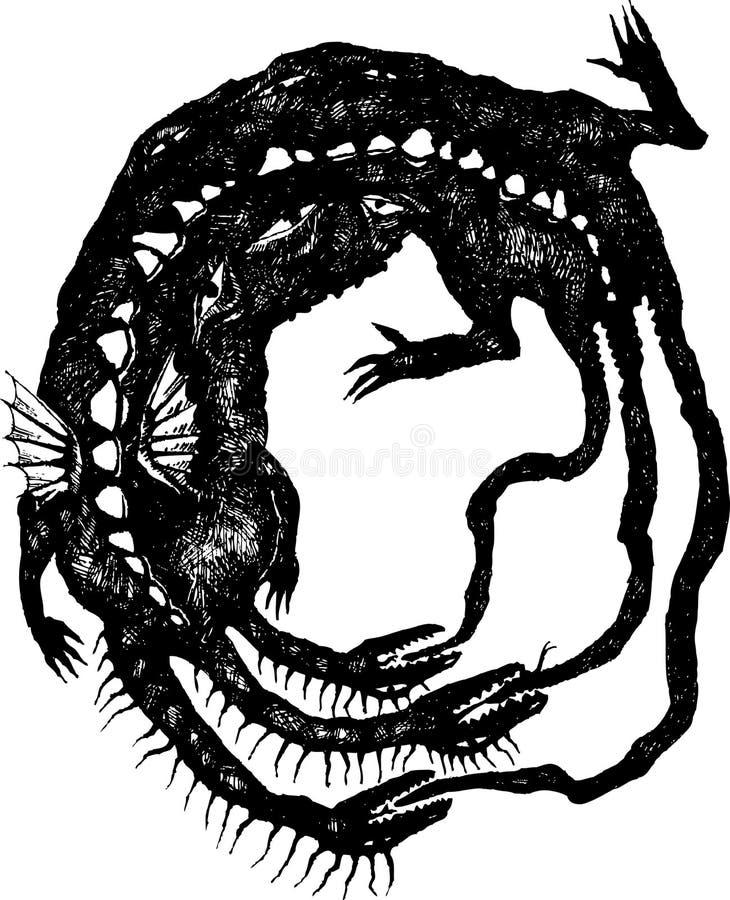 Le dragon mordant son propre arrière illustration de vecteur