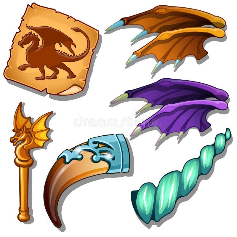 Le dragon a placé - les ailes, photo sur le parchemin le klaxon magique et la tige d'or avec le dragon figurent Vecteur magique d illustration libre de droits