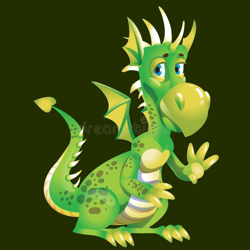Le dragon vert de bande dessinée mignonne drôle salue avec une patte Caractère d'un conte de fées ou d'une légende Illustration d illustration libre de droits