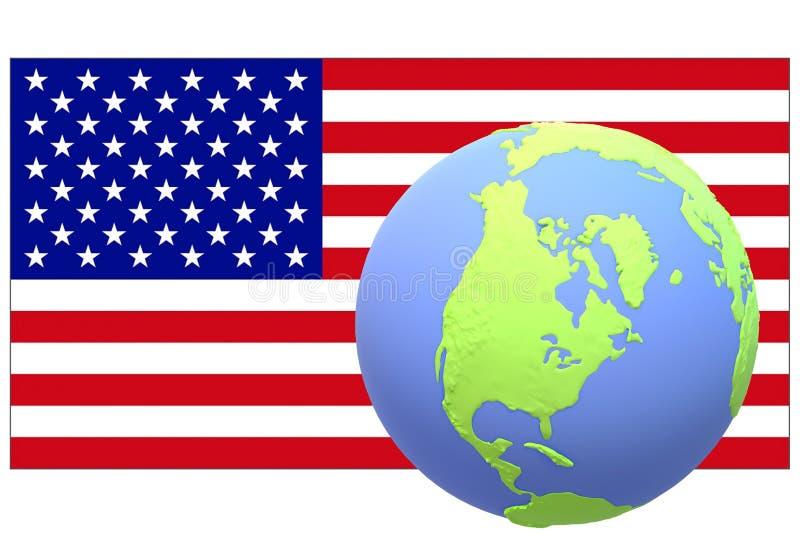 Le drapeau américain avec un globe de son emplacement géologique sur le premier plan illustration stock