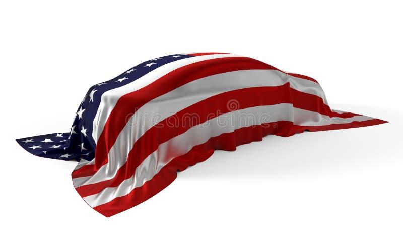 Le drapeau américain a couvert le concept de voiture illustration 3D illustration libre de droits