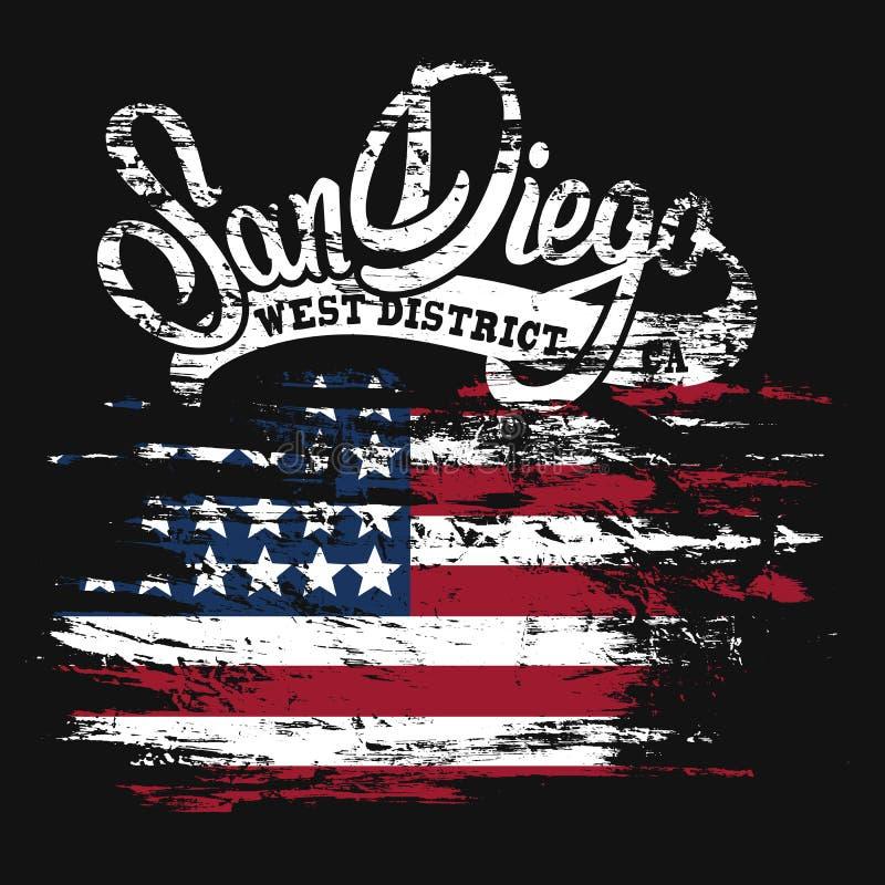 Le drapeau américain et copie grunge des textes de San Diego conçoivent illustration stock