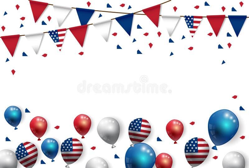 Le drapeau américain et les ballons de partie d'illustration de vecteur conçoivent illustration stock