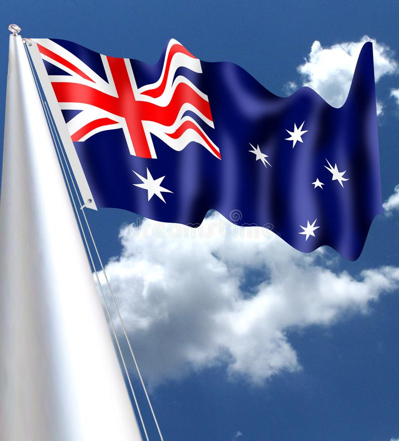 Le drapeau d'Australi ondulant dans skay bleu illustration de vecteur