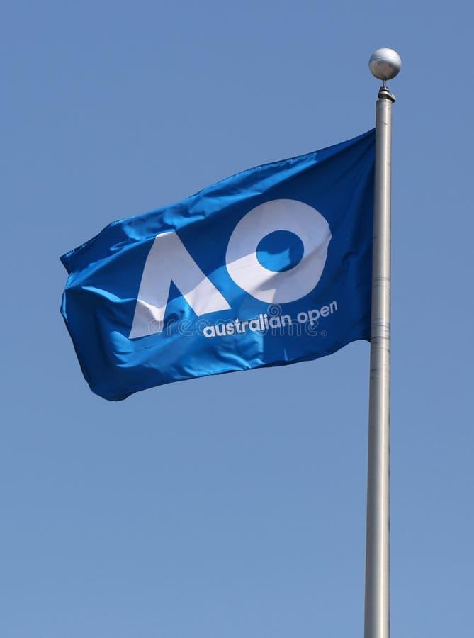 Le drapeau d'open d'Australie chez Billie Jean King National Tennis Center pendant l'US Open 2017 images libres de droits