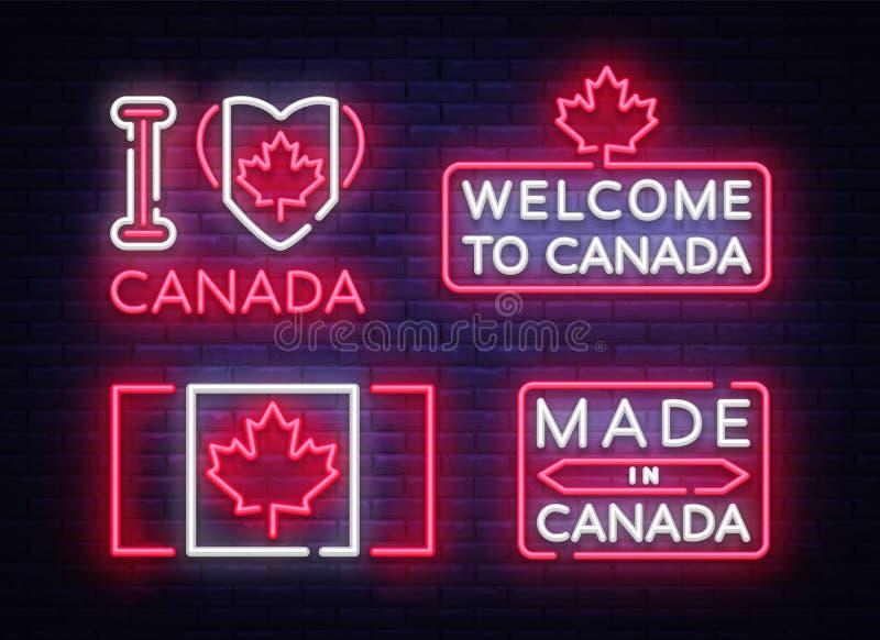 Le drapeau de Canada badges le signe au néon de vecteur de collection J'aime le Canada, fait dans la lumière de bannière de symbo illustration de vecteur
