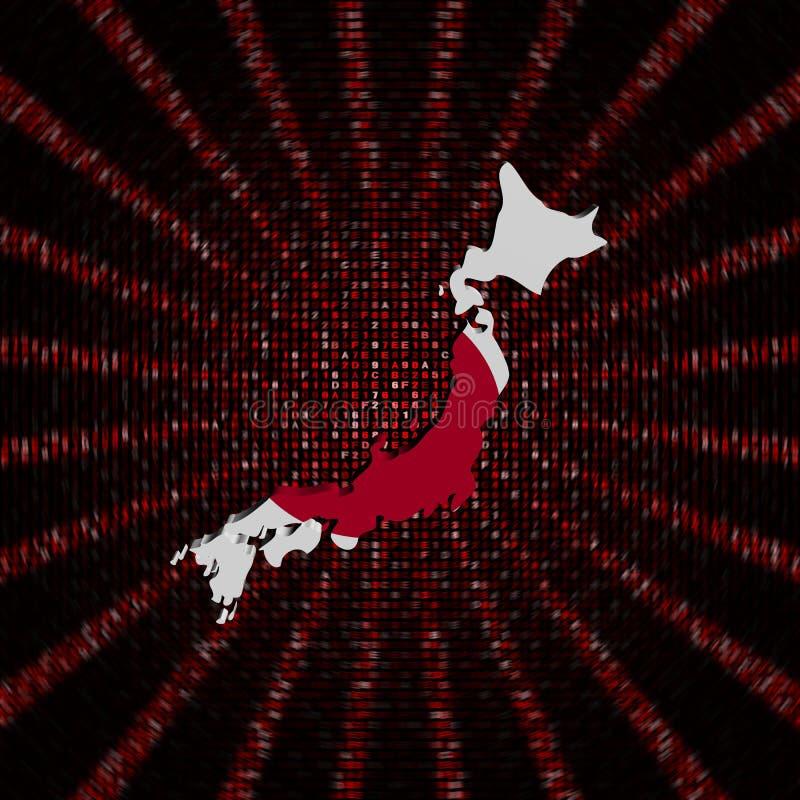 Le drapeau de carte du Japon sur le code rouge de sortilège a éclaté l'illustration illustration stock
