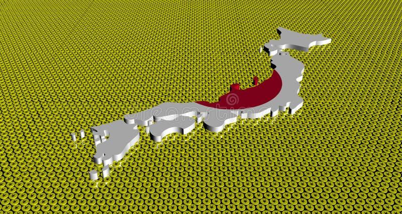 Le drapeau de carte du Japon sur Yens d'or invente l'illustration illustration stock