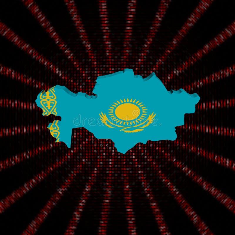 Le drapeau de carte de Kazakhstan sur le code rouge de sortilège a éclaté l'illustration illustration libre de droits