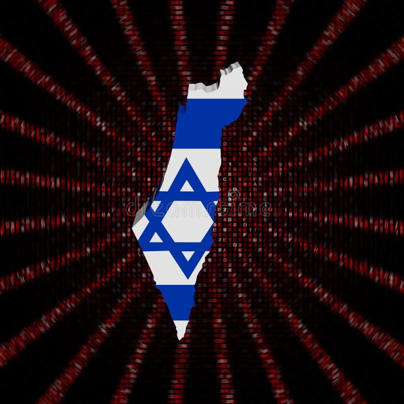 Le drapeau de carte de l'Israël sur le code rouge de sortilège a éclaté l'illustration illustration stock