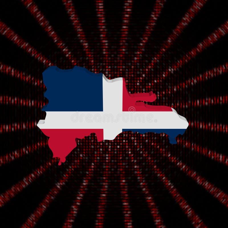 Le drapeau de carte de la République Dominicaine sur le code rouge de sortilège a éclaté l'illustration illustration libre de droits