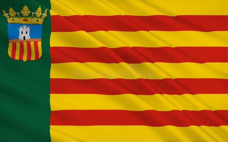 Le drapeau de Castello est province à la Communauté Valencian, Espagne illustration stock