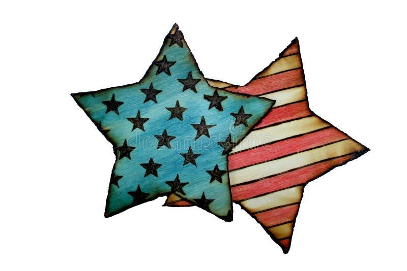 Le drapeau de l'Amérique a brûlé le bois photographie stock libre de droits