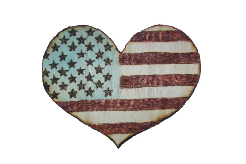 Le drapeau de l'Amérique a brûlé le bois image stock