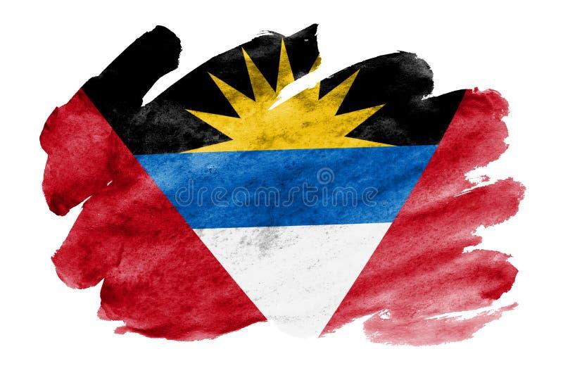 Le drapeau de l'Antigua-et-Barbuda est dépeint dans le style liquide d'aquarelle d'isolement sur le fond blanc illustration de vecteur