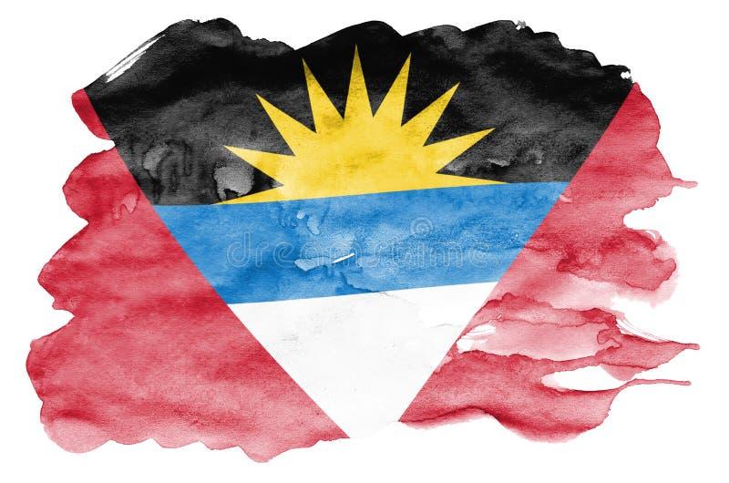 Le drapeau de l'Antigua-et-Barbuda est dépeint dans le style liquide d'aquarelle d'isolement sur le fond blanc illustration libre de droits
