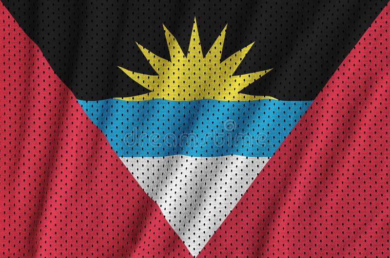 Le drapeau de l'Antigua-et-Barbuda a imprimé sur des vêtements de sport de nylon de polyester illustration de vecteur