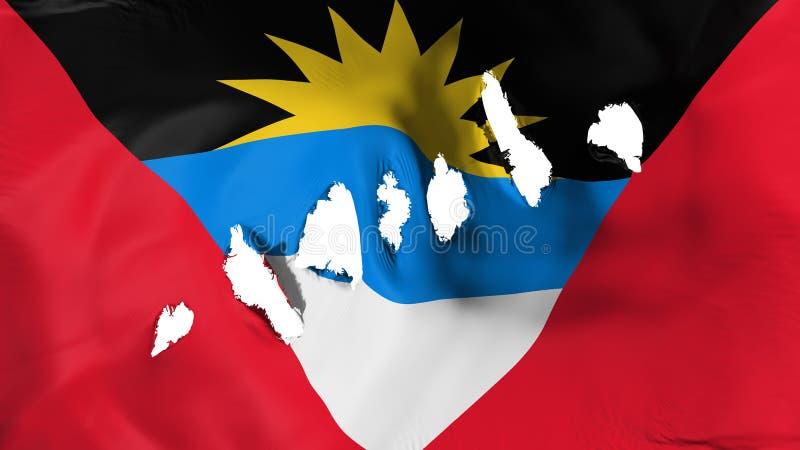 Le drapeau de l'Antigua-et-Barbuda a perforé, des trous de balle illustration de vecteur
