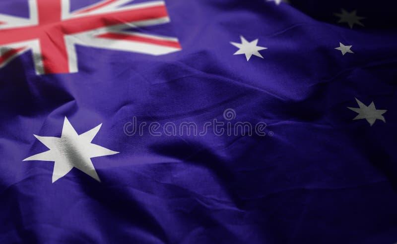 Le drapeau de l'Australie a fripé étroit  photo stock
