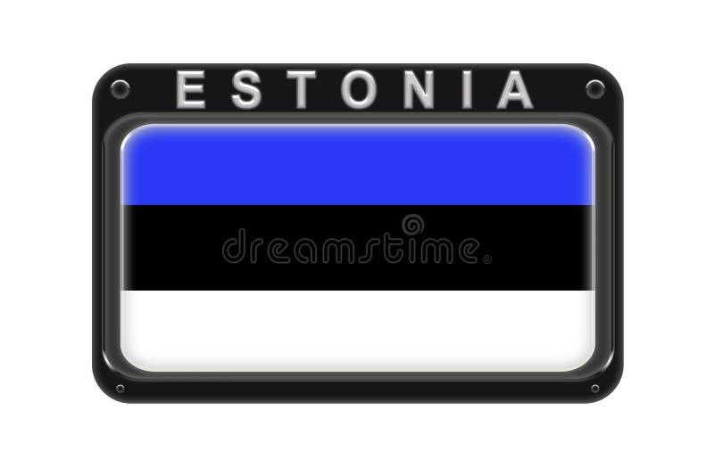 Le drapeau de l'Estonie dans le cadre avec des rivets sur le fond blanc illustration de vecteur