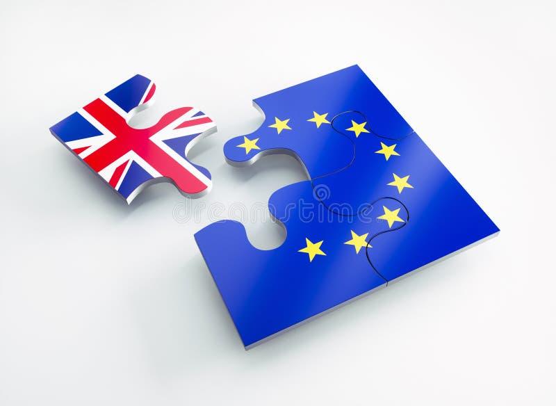 Le drapeau de l'Europe et de l'Angleterre a divisé des morceaux de puzzle illustration stock
