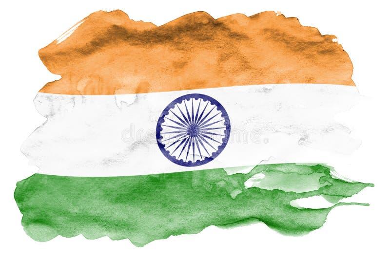 Le drapeau de l'Inde est dépeint dans le style liquide d'aquarelle d'isolement sur le fond blanc images libres de droits