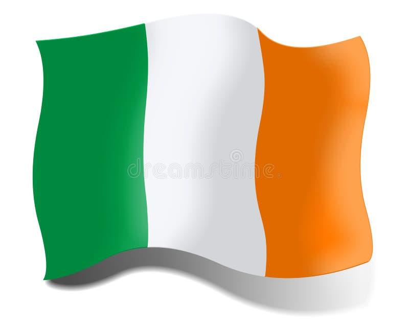 Le drapeau de l'Irlande a isolé sur le fond blanc illustration stock
