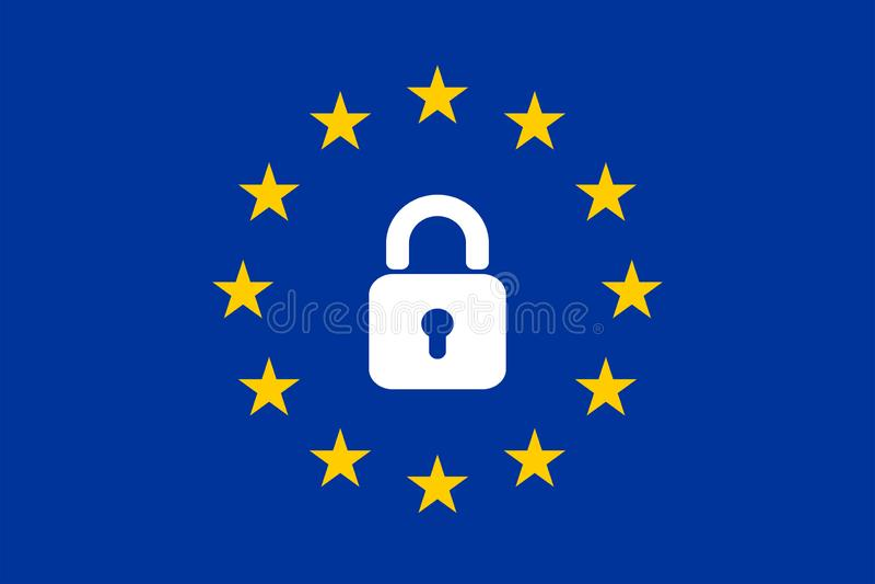 Le drapeau de l'UE avec une icône de cadenas illustration de vecteur