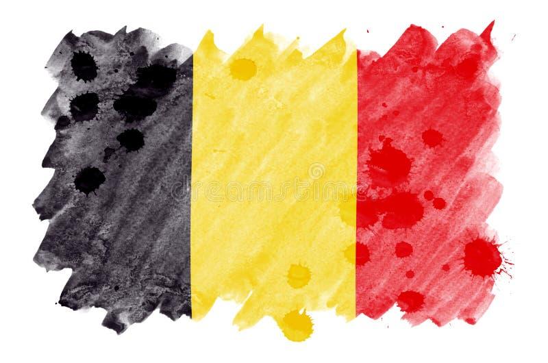Le drapeau de la Belgique est dépeint dans le style liquide d'aquarelle d'isolement sur le fond blanc illustration stock