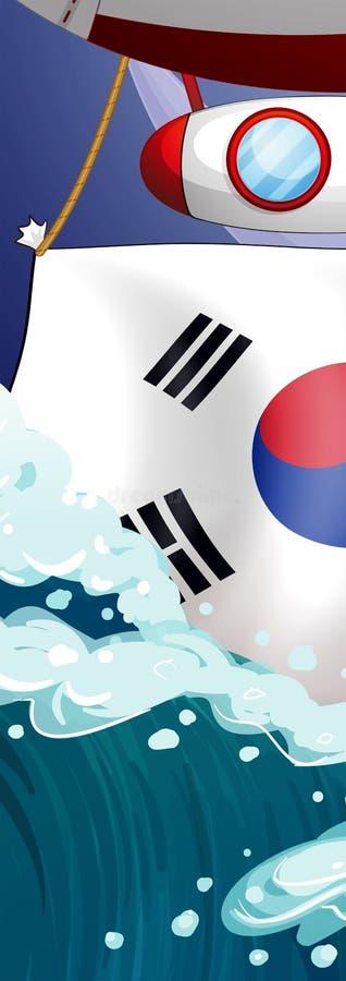Le drapeau de la Corée et des vagues géantes illustration libre de droits