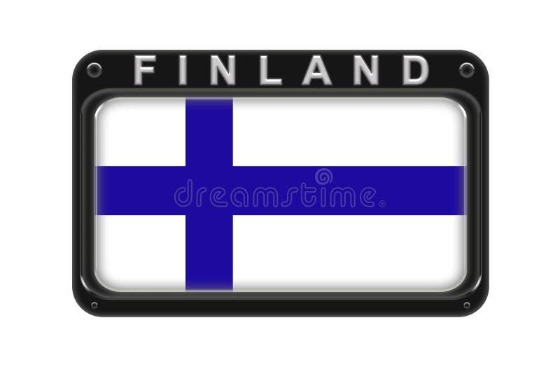 Le drapeau de la Finlande dans le cadre avec des rivets sur le fond blanc illustration stock