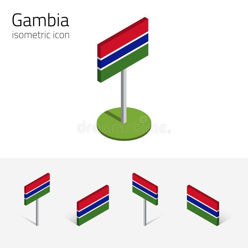 Le drapeau de la Gambie, icônes plates isométriques du vecteur 3D illustration libre de droits