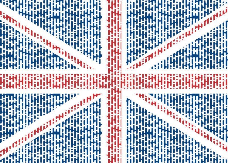 Le drapeau de la Grande-Bretagne est abstrait La couleur BRITANNIQUE de drapeau dans le style de halfton, a arrondi des lignes Il illustration libre de droits