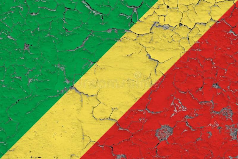 Le drapeau de la République du Congo a peint sur le mur sale criqué Mod?le national sur la surface de style de cru illustration libre de droits