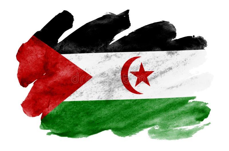 Le drapeau de la Sahara occidental est dépeint dans le style liquide d'aquarelle d'isolement sur le fond blanc illustration stock
