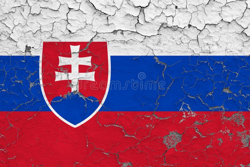 Le drapeau de la Slovaquie a peint sur le mur sale criqué Mod?le national sur la surface de style de cru illustration de vecteur