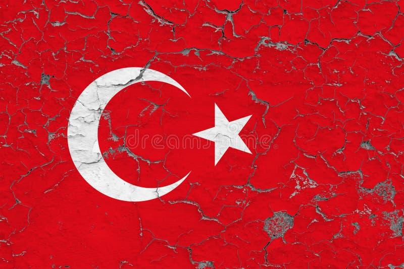 Le drapeau de la Turquie a peint sur le mur sale criqué Mod?le national sur la surface de style de cru illustration stock