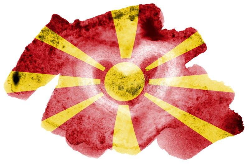 Le drapeau de Macédoine est dépeint dans le style liquide d'aquarelle d'isolement sur le fond blanc image libre de droits