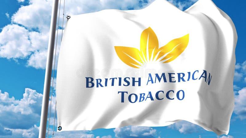 Le drapeau de ondulation avec British American Tobacco MANIENT LA BATTE le logo contre les nuages et le ciel Rendu 3D éditorial illustration libre de droits