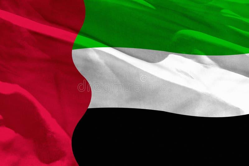 Le drapeau de ondulation des Emirats Arabes Unis pour l'usage comme texture ou fond, le drapeau flotte sur le vent illustration de vecteur